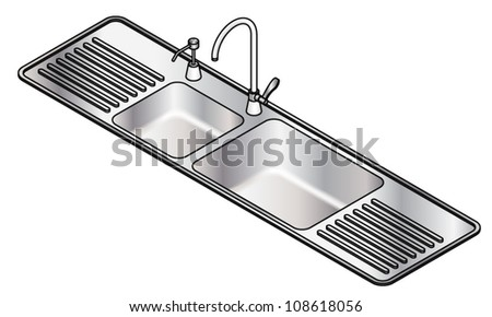 Twin Bowl Stainless Steel Kitchen Sink Stock Vector 108618056 ...