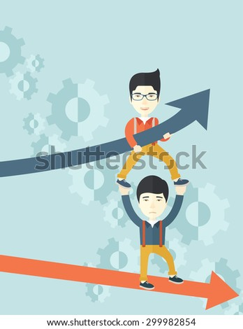 A two asian guy helping with business arrows, blue up and red down and gears background. Teamwork concept. A contemporary style with pastel palette soft blue tinted background. Vector flat design - stock vector