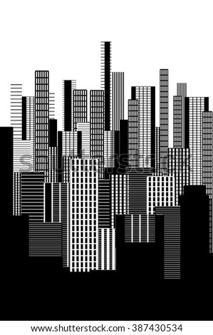 a two colors graphical abstract urban landscape poster in black and white