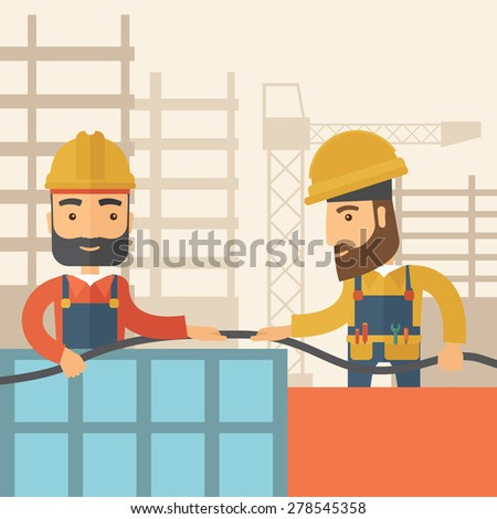 A two hipster builders wearing hard hat for their safety ladders use for construction. A Contemporary style with pastel palette, soft beige tinted background. Vector flat design illustration. Square - stock vector