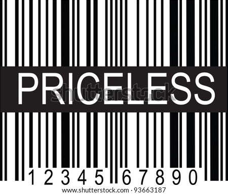 "A typical black and white upc code, with a broad band of black displaying the word, ""PRICELESS"". - stock vector"