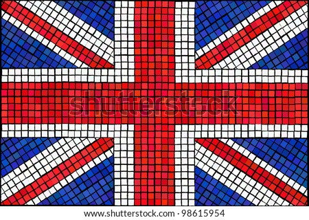A Union Jack flag made from mosaic tiles. EPS10 vector format. - stock vector