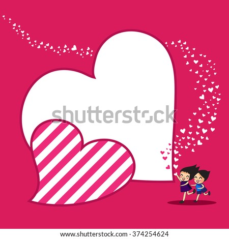 a unique vector of children run with holding heart to present love and valentine concept on  pink background - stock vector