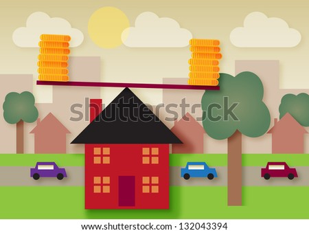 A urban area, with the house in the foreground balancing coins on a lever. Symbolizing the balance of outgoings, tax or mortgage rates. - stock vector