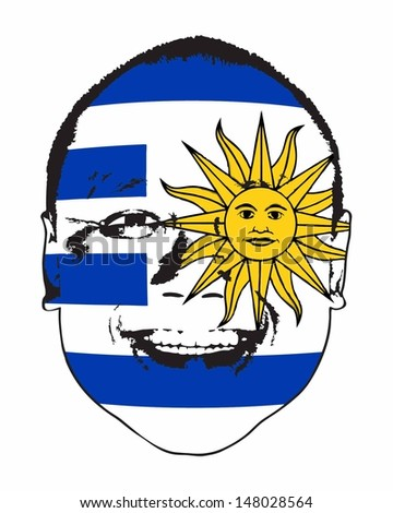 A Uruguay flag on a face, isolated against white.  - stock vector