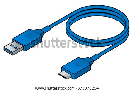 A USB (universal serial bus) cable. USB 3.0 type A to micro AB.