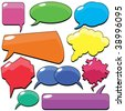A useful collection of speech and thought bubbles.You can easily remove the shadows,change the colors, write the message inside. - stock vector