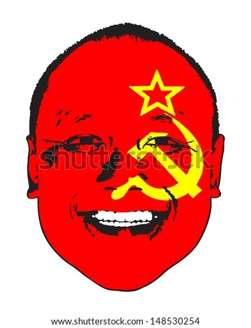 A USSR flag on a face, isolated against white.  - stock vector
