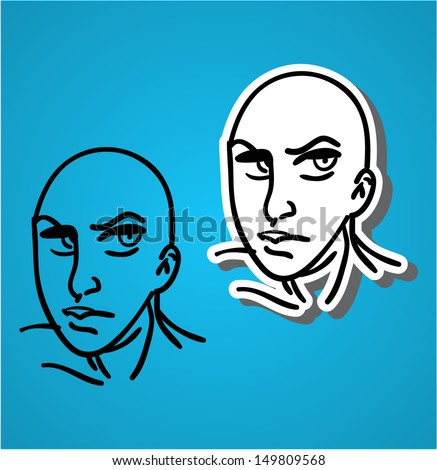 A variety of hand-drawn male faces - bad looking - stock vector