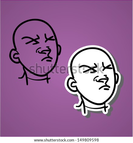 A variety of hand-drawn male faces - don't like - stock vector