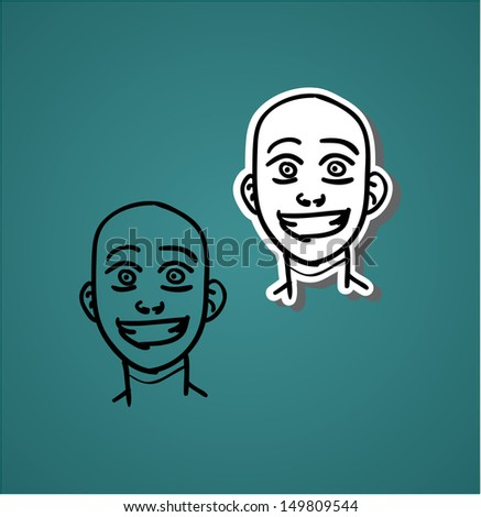 A variety of hand-drawn male faces - jaunt - stock vector