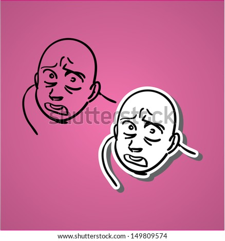 A variety of hand-drawn male faces - scared  - stock vector