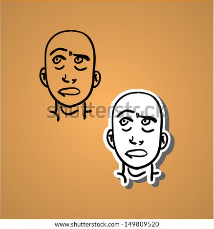 A variety of hand-drawn male faces - sceptical - stock vector