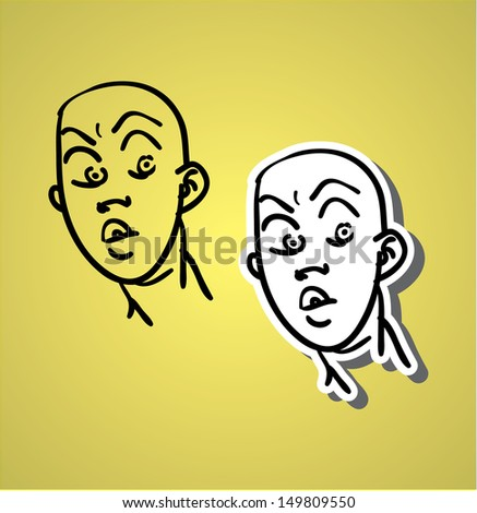 A variety of hand-drawn male faces - surprise and alarm - stock vector