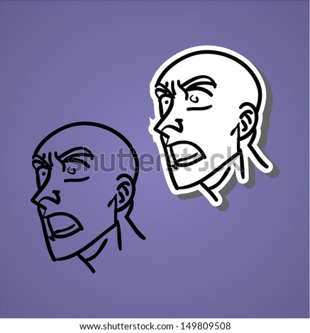 A variety of hand-drawn male faces - yawling - stock vector