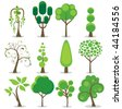 A variety of stylized trees - stock photo