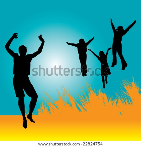 A vector background of people jumping