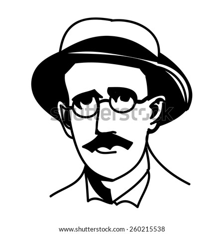A vector, black and white illustration of James Joyce - stock vector