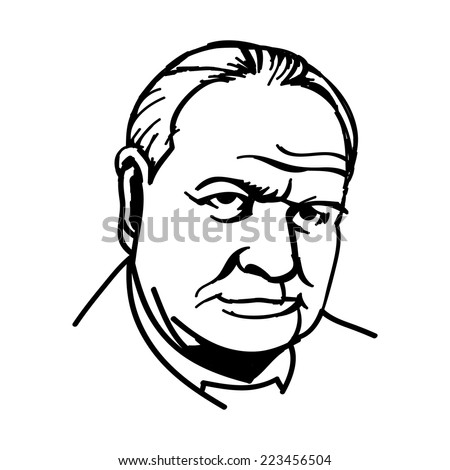 A vector, black and white illustration of Sir Winston Churchill - stock vector
