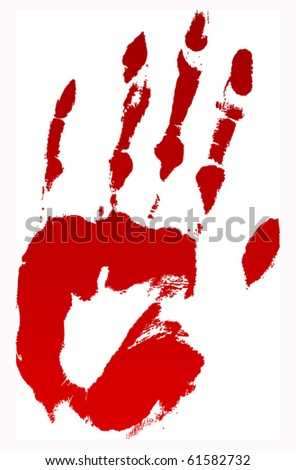 A vector bloody hand print on white. - stock vector