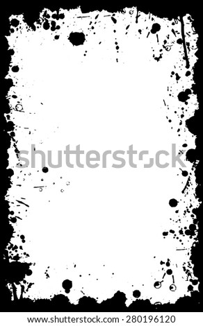 A vector border in grunge style with stains and ink splats in an 11X17 aspect format. - stock vector
