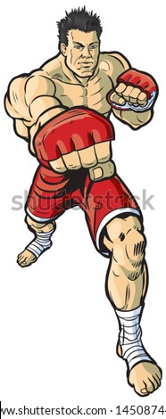 A vector cartoon illustration of an mma fighter throwing a right cross punch toward the viewer. - stock vector