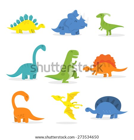 A vector cartoon illustration of happy dinosaurs set. Included in this set: t-rex,triceratops,tyrannosaurus,Pterodactyls,Stegosaurus,spinosaurus,long neck/Apatosaurus and more. - stock vector