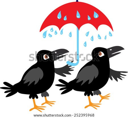A vector cartoon illustration of two black crows sheltering from the rain under a red umbrella - stock vector