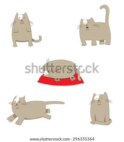 a vector cartoon illustration representing a happy and friendly cartoon cat character, posing in different situations: standing, meowing, sleeping on a red pillow, running and sitting. - stock vector