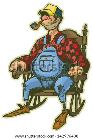 A Vector Cartoon of an Elderly Man in a Rocking Chair. Looks like a Farmer or someone who lives in the country. Rendered in a sketchy illustration style, in layers for easy editing. - stock vector