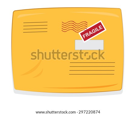 a vector cartoon representing a closed yellow padded envelope, with copy space postmarks and labels  - stock vector