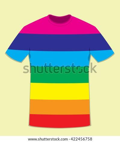 a vector cartoon representing a Coloured t-shirt template - peace flag colors concept - stock vector