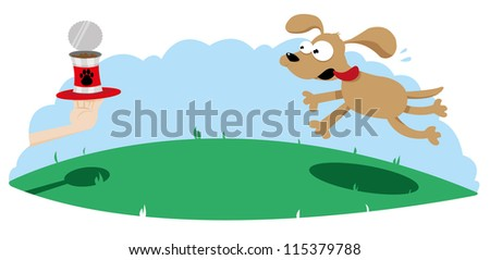 a vector cartoon representing a cute dog running towards a dog food can served on a tray - stock vector