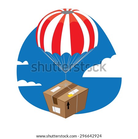 a vector cartoon representing a funny brown package with parachute falling down from a blue sky and landing slowly - stock vector