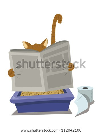a vector cartoon representing a funny cat looking for a moment of privacy - stock vector