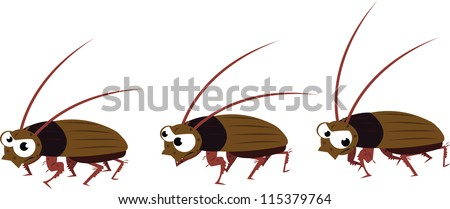 a vector cartoon representing a funny cockroach in different poses, while it's walking - stock vector