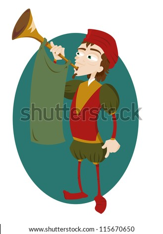 a vector cartoon representing a funny herald playing a trumpet - stock vector