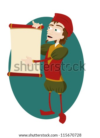 a vector cartoon representing a funny herald showing a scroll with copy space - stock vector