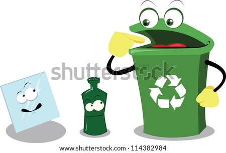 a vector cartoon representing a funny recycling bin and glass - stock vector