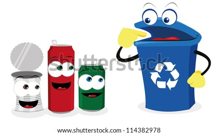 a vector cartoon representing a funny recycling bin and some cans - stock vector