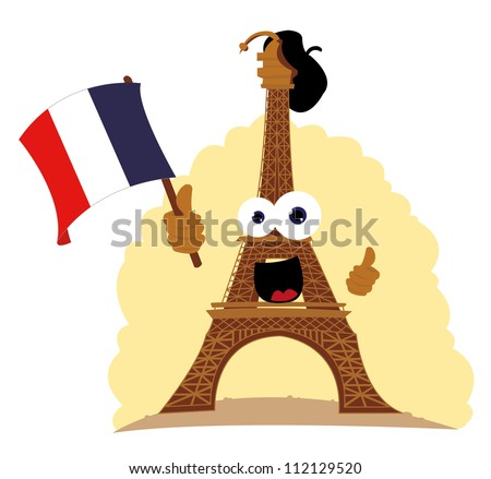 a vector cartoon representing a funny Tour Eiffel, holding a french flag and wearing a french hat - stock vector