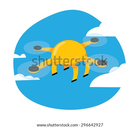 a vector cartoon representing a funny yellow drone flying on a blue cloudy sky background