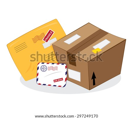a vector cartoon representing a set of postal products: a brown carton package, a yellow sending envelope, an airmail letter - stock vector