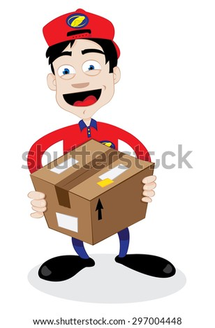 a vector cartoon representing a young friendly courier delivering a brown carton package and smiling  - stock vector