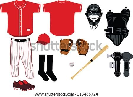 A vector cartoon representing all you need to play baseball game - stock vector