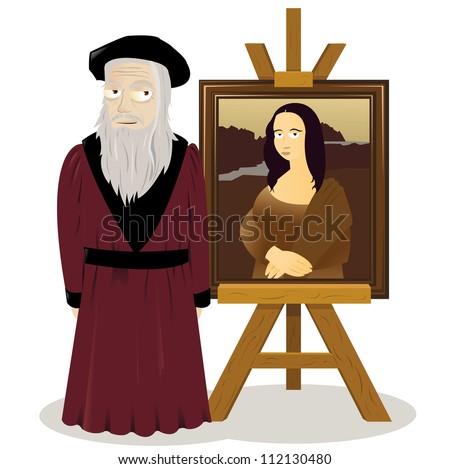 a vector cartoon representing an easel with a Mona lisa and Leonardo Da Vinci - stock vector