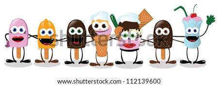 a vector cartoon representing some funny ice creams in a collective hug - stock vector