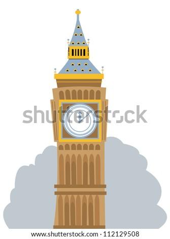 a vector cartoon representing the Big Ben, in London - stock vector