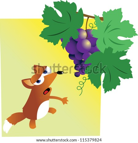 a vector cartoon representing the famous story of fox and grapes - stock vector