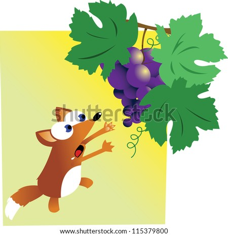 a vector cartoon representing the famous story of the fox and the grapes - stock vector